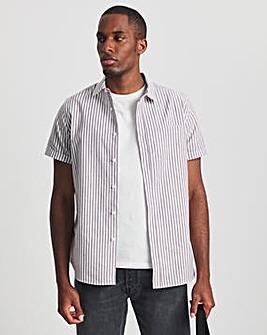 Grey Short Sleeve Cotton Stripe Oxford Shirt
