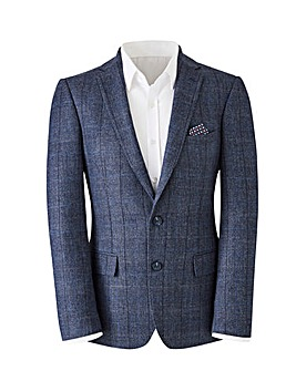 Navy Check Baker Wool Mix Blazer