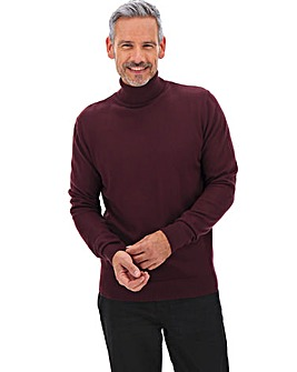 Burgundy Soft Touch Roll Neck Long
