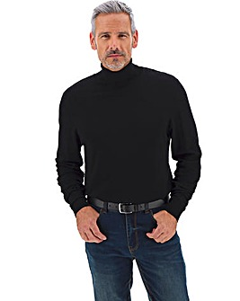 Black Soft Touch Roll Neck Long