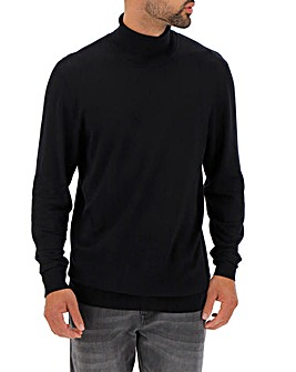 Black Roll Neck Jumper Long