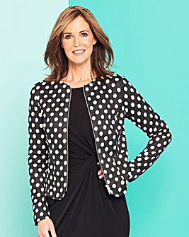 Spot Print Zip Front Stretch Jacket
