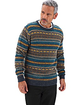 Multi Fairisle Crew Neck Jumper Long