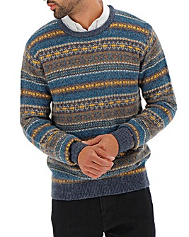 Fairisle Wool Mix Crew Neck Jumper Long