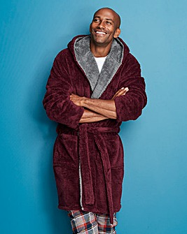 Capsule Burgundy Fleece Dressing Gown