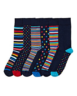 Capsule Pack of 6 Spot & Stripe Socks