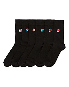 Capsule Pack of 6 Embroidered Socks