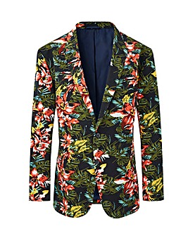 Navy Print Slim Fit Boston Floral Blazer