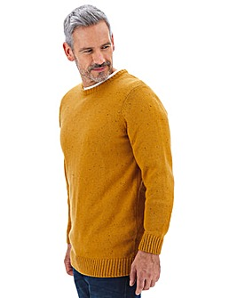 Mustard Neppy Yarn Crew Neck Jumper Long
