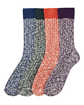 Pack of 4 Ribbed Boot Socks