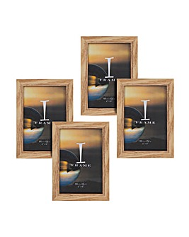 "iFrame Pack of 4""x6"" Oak Effect Frames"