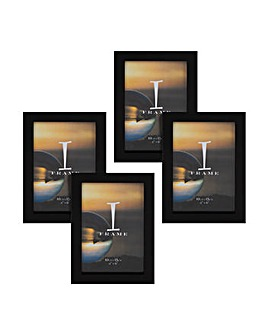 "iFrame Pack of 4""x6"" Black Photo Frames"