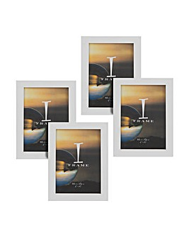 "iFrame Pack of 4""x6"" White Photo Frames"
