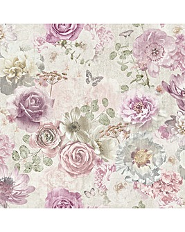 Arthouse Vintage Floral Multi Wallpaper