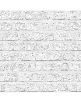 Arthouse Rustic Brick Grey Wallpaper