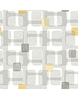 Arthouse Retro Block Ochre Wallpaper