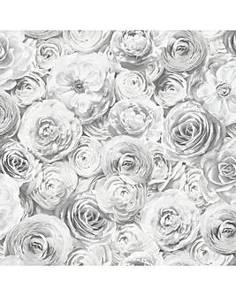 Arthouse Wild Rose Silver Wallpaper