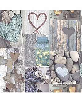 Arthouse Rustic Heart Natural Wallpaper