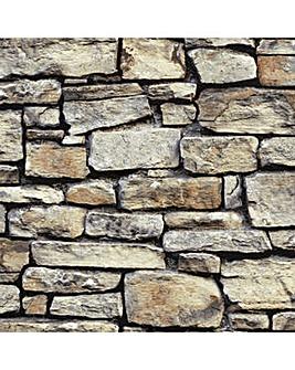 Arthouse Cornish Stone Brown Wallpaper