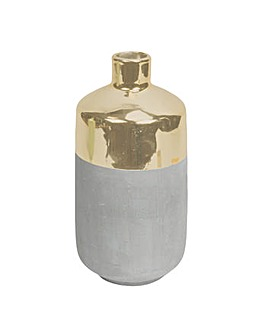 Hestia Gold & Concrete Effect Vase
