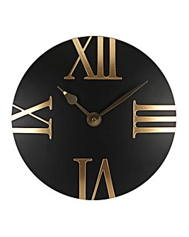 Hometime Clock Black Domed Roman Dial