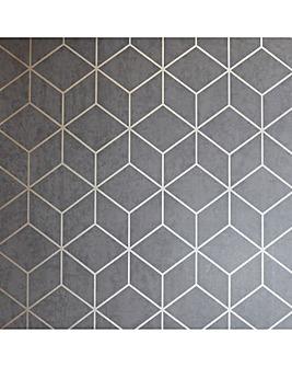 Box Geo Charcoal/Copper Wallpaper