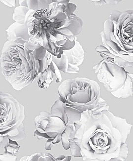 Floral Bloom Mono Wallpaper