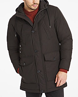 Black Padded Detachable Fur Hooded Parka