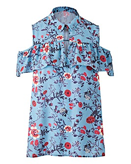 Blue Print Frill Swing Shirt