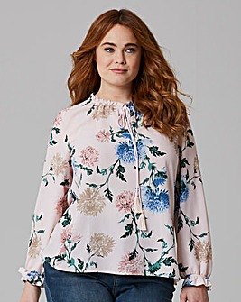 Pink Floral Ruffle Neck Tie Blouse