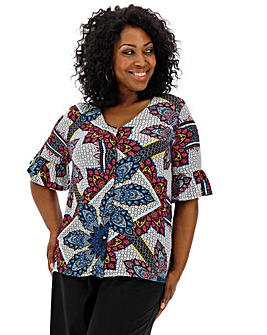 Scarf Print Button V-Neck Crinkle Blouse