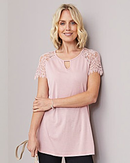 Julipa Keyhole T Shirt with Lace Sleeves