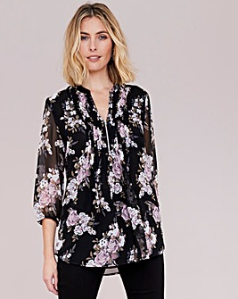 Julipa Sheer Pintuck Zip Front Blouse