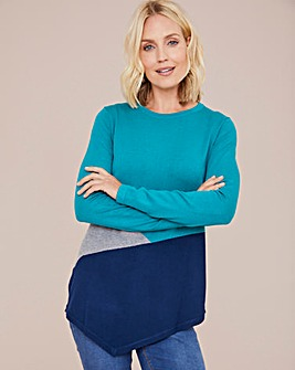 Julipa Colour Block Tunic With Hanky Hem