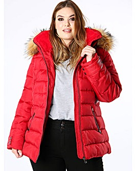 Lovedrobe Red Padded Coat with Hood