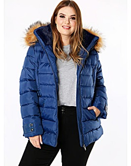 Lovedrobe Blue Padded Coat with Hood