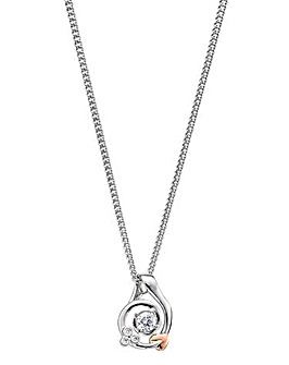 Clogau Tree Of Life Sterling Silver and 9ct Rose Gold Origin Swirl Pendant