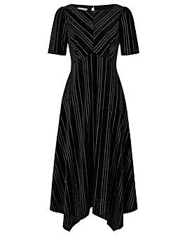 Monsoon Martha Stripe Velvet Midi Dress
