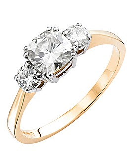 Moissanite 9ct Gold Trilogy Ring