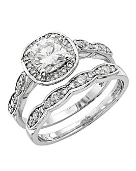 Moissanite 9ct Gold Halo Bridal Set