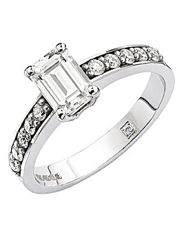 Moissanite 9ct Gold Emerald Cut Ring
