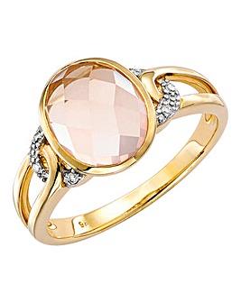 9 Carat Gold Rose Quartz and Diamond Shoulder Ring