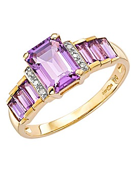 9 ct Gold Amethyst and Diamond Ring