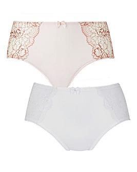 2 Pack Ella Lace Blush/White Briefs