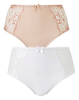 2 Pack Ella Lace Blush/White Briefs