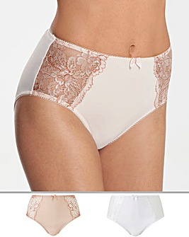 2Pack Ella Lace Blush/White Briefs
