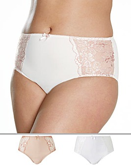 Pretty Secrets 2Pack Ella Lace Blush/White Briefs
