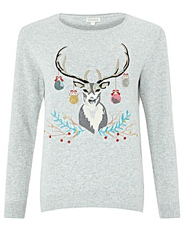 Monsoon Anya Embellished Reindeer Jumper