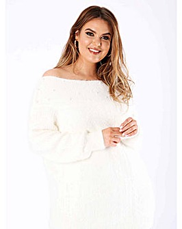 Koko Cream Wide Neck Beaded Jumper