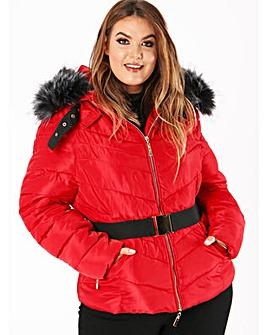 Lovedrobe Red Belted Padded Coat